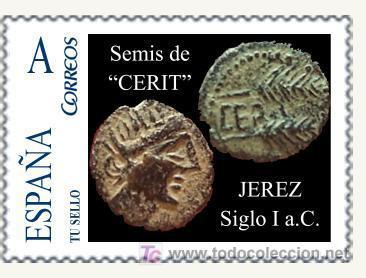 SELLO PERSONALIZADO DE MONEDAS ROMANAS SEMIS DE CERIT. S. I A. C. (Sellos - España - Juan Carlos I - Desde 1.975 a 1.985)