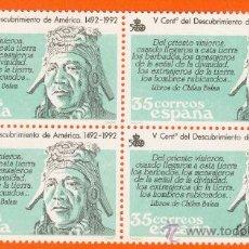 Sellos: V CENTENARIO DEL DESCUBRIMIENTO DE AMERICA. INDIGENA PRECOLOMBINO. BLOQUE 4 SELLOS 35 P. Lote 18597967