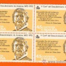 Sellos: V CENTENARIO DEL DESCUBRIMIENTO DE AMERICA. EXTRANJERO DE BARBAS RUBICUNDAS. BLOQUE 4 SELLOS 45 P. Lote 18597995