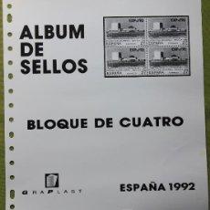 Sellos: ESPAÑA AÑO 1992 COMPLETO EN BLOQUE DE 4 ...... Lote 26779641