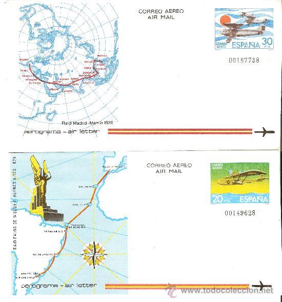 AEROGRAMAS CONMEMORATIVOS EDIFIL Nº 291,292 (Sellos - España - Juan Carlos I - Desde 1.975 a 1.985 - Nuevos)
