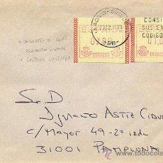 Sellos: SOBRE CIRCULADO DE MADRID A PAMPLONA CON 2 ETIQUETAS FRAMA EL 29.12.1989. Lote 27593992