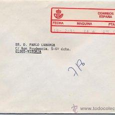Sellos: CERTIFICADO DE CEUTA A VITORIA CON ETIQUETA EPELSA TIPO 4 MAQUINA 64 – 19 FEB 1991. Lote 27593995
