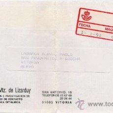 Sellos: CERTIFICADO DE VITORIA A VITORIA CON ETIQUETA EPELSA TIPO 4 MAQUINA 99 – 3 ENE 1991. Lote 27593998