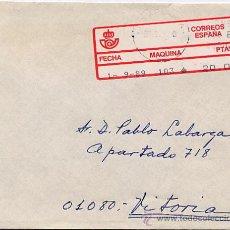 Sellos: CERTIFICADO DE PAMPLONA A VITORIA CON ETIQUETA EPELSA TIPO 4 MAQUINA 103 – 1 SEP 1989. Lote 27593999