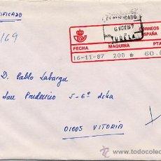 Sellos: CERTIFICADO DE TUDELA A VITORIA CON ETIQUETA EPELSA TIPO 4 MAQUINA 200 – 16 NOV 1987. Lote 27630470