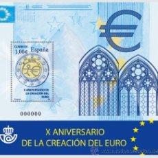 Sellos: ESPAÑA 2009 - X ANIVERSARIO DE LA CREACIÓN DEL EURO - BLOCK - EDIFIL Nº 4496. Lote 288153093