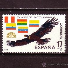Sellos: ESPAÑA EDIFIL 2778*** - AÑO 1985 - 15º ANIVERSARIO DEL PACTO ANDINO - FAUNA - AVES - CONDOR. Lote 25056288