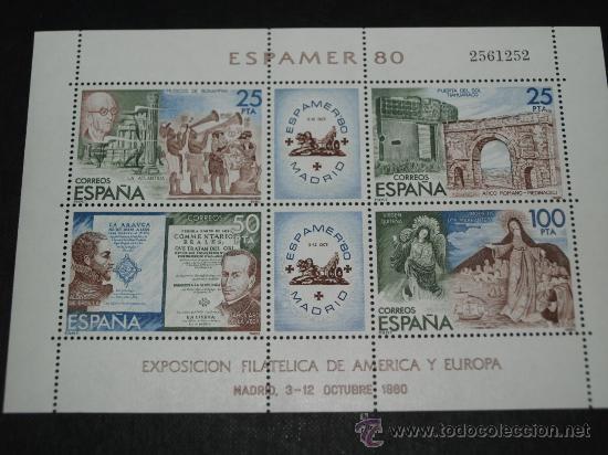 BBB HOJA BLOQUE HOJITA HB EDIFIL 2583 ESPAMER 80 NUEVA PERFECTA (Sellos - España - Juan Carlos I - Desde 1.975 a 1.985 - Nuevos)