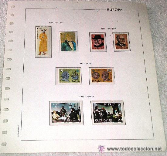 EDIFIL EUROPA HOJA DE ALBUM SELLOS Nº 122 IRLANDA - ISLANDIA - ITALIA - JERSEY (Sellos - España - Juan Carlos I - Desde 1.975 a 1.985 - Usados)