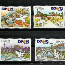 Sellos: ESPAÑA 1990, EDIFIL. Nº 3050/3053**, EXPOSICION UNIVERSAL SEVILLA 92, MASCOTA CURRO.. Lote 28363657