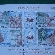 Sellos: HOJITA POSTAL.NUEVA. EXPOSICION FILATELICADE AMERICA Y EUROPA, ESPAMER´ 80.3 OCTUBRE 1980. Lote 28603649