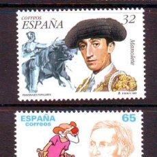 Sellos: ESPAÑA*** AÑO 1997.EDIFIL NR.3488/3489.PERSONAJES POPULARES.MANOLETE.CHARLIE RIVEL.. Lote 28789618