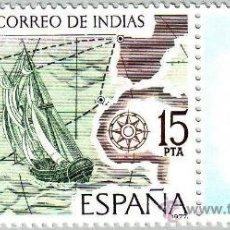 Sellos: ESPAÑA 1977 EDIFIL 2437 SELLO **CORREO DE INDIAS ESPAMER'77 BERGANTIN CRUZANDO EL OCEANO. Lote 147940397