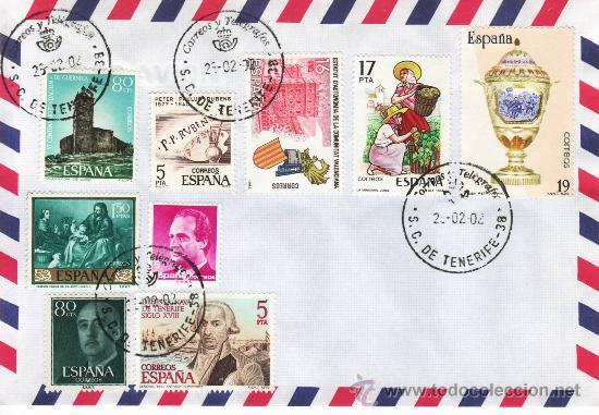 SOBRE Y SELLOS MATASELLADOS 25-02-02 S C DE TENERIFE (Sellos - España - Juan Carlos I - Desde 2.000 - Cartas)
