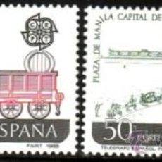 Sellos: ESPAÑA 1988 EDIFIL 2949/50 SELLOS ** EUROPA CEPT 1º FERROCARRIL ESPAÑOL EN CUBA TELEGRAFO FILIPINAS. Lote 255943390