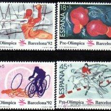 Sellos: ESPAÑA 1989 EDIFIL 2994/7 SELLOS ** BARCELONA'92 II SERIE PREOLIMPICA BALONMANO, BOXEO, CICLISMO. Lote 255943440