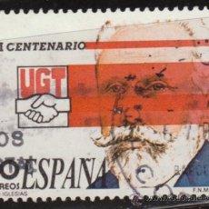 Sellos: ESPAÑA 1988 EDIFIL 2948 SELLO º CENTENARIO FUNDACIÓN UGT PABLO IGLESIAS TIMBRE ESPAGNE SPAIN SPAGNA. Lote 29940242
