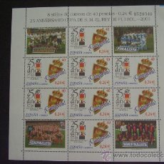 Sellos: ESPAÑA Nº EDIFIL 3805 MINIPL., Nº YVERT 3375*** AÑO 2001 FUTBOL. 25 ANIVERSARIO COPA DEL REY. Lote 127885354