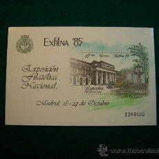 Sellos: FILATELIA HOJA BLOQUE SELLOS ESPAÑA EXFILNA 85 MADRID. Lote 33406005