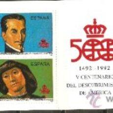 Sellos: ESPAÑA 1991 CARNET DESCUBRIMIENTO DE AMERICA EDIFIL NUM. 3137/3140 SERIE COMPLETA SIN FIJASELLOS. Lote 115609558