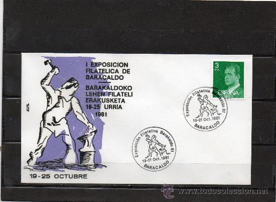 SOBRE Y MATASELLO ESPECIAL DE LA LOCALIDAD DE BARAKALDO DE LA I EXPOSICION FILATELICA DE BARAKALDO (Sellos - España - Juan Carlos I - Desde 1.975 a 1.985 - Cartas)
