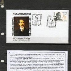 Sellos: SOBRE Y MATASELLO ESPECIAL DEL CENTENARIO DE LA FUNDACION MIRANDA DE BARAKALDO DEL AÑO 2011. Lote 34916364