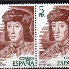 Sellos: 2512 / NUEVOS / BLOQUE DE DOS / 5 PTA JORGE MANRIQUE / PERSONAJES ESPAÑOLES.. Lote 35759928