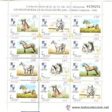 Sellos: EXPOSICION MUNDIAL DE FILATELIA ESPAÑA 2000 CABALLOS CARTUJANOS. Lote 36055368