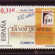 Sellos: ESPAÑA 4386*** - AÑO 2008 - DIARIOS CENTENARIOS - LA VOZ DE AVILES. Lote 36107557