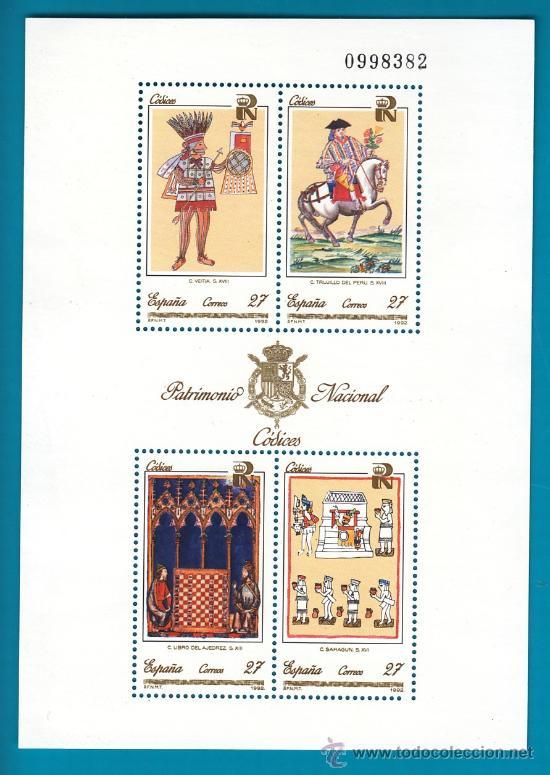 ESPAÑA 1992, HOJITA EDIFIL 3236, PATRIMONIO ARTISTICO NACIONAL, CODICES, NUEVO SIN FIJASELLOS (Sellos - España - Juan Carlos I - Desde 2.000 - Nuevos)