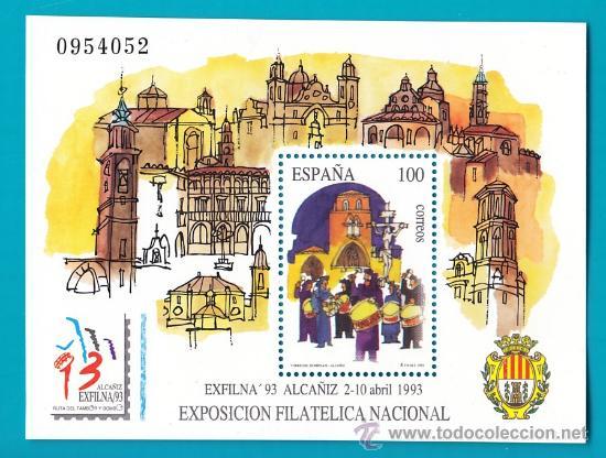 ESPAÑA 1993, HOJITA EDIFIL 3249, EXPOSICION FILATELICA NACIONAL, EXFILNA 93, NUEVO SIN FIJASELLOS (Sellos - España - Juan Carlos I - Desde 2.000 - Nuevos)