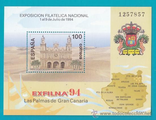 ESPAÑA 1994 HOJITA EDIFIL 3313 EXPOSICION FILATELICA NACIONAL, EXFILNA 94, NUEVO SIN FIJASELLOS (Sellos - España - Juan Carlos I - Desde 2.000 - Nuevos)