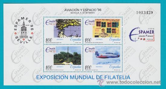 ESPAÑA 1996, HOJITA EDIFIL 3433, AVIACION Y ESPACIO 96, NUEVO SIN FIJASELLOS (Sellos - España - Juan Carlos I - Desde 2.000 - Nuevos)