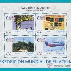 Sellos: ESPAÑA 1996, HOJITA EDIFIL 3433, AVIACION Y ESPACIO 96, NUEVO SIN FIJASELLOS. Lote 36124001