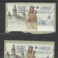 Francobolli: ESPAÑA ATM VIRGEN DE LA ALMUDENA MADRID CATEDRAL ETIQUETA DE AJUSTE Y EN BLANCO. Lote 37366529