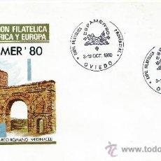 Sellos: ESPAÑA, 1980 EXPOFILCA ESPAMER'80, OVIEDO ARCO ROMANO-MEDINACELI, PUERTA DE SOL-TIAHUANACO. Lote 37536934