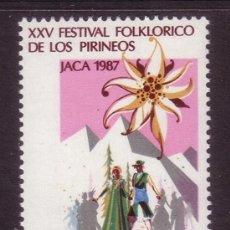 Sellos: ESPAÑA 2910*** - AÑO 1987 - FESTIVAL FOLKLÓRICO DE LOS PIRINEOS - JACA. Lote 37736698