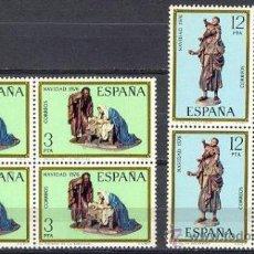 Sellos: ESPAÑA 1976 NAVIDAD ** SERIE COMPLETA BLOQUE 4 SELLOS SIN FIJASELLOS. Lote 47018090