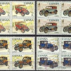 Sellos: ESPAÑA 1977 AUTOMOVILES ANTIGUOS EDIFIL NUM. 2409/2412 ** SERIE COMPLETA BLOQUE 4 SIN FIJASELLOS. Lote 243908775
