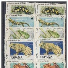 Sellos: ESPAÑA 1975 FAUNA HISPANICA ** SERIE COMPLETA BLOQUE 4 SELLOS SIN FIJASELLOS. Lote 38453802
