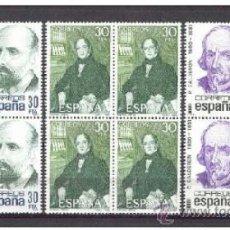 Sellos: ESPAÑA 1982 CENTENARIOS ** SERIE COMPLETA BLOQUE 4 SELLOS SIN FIJASELLOS. Lote 38459294