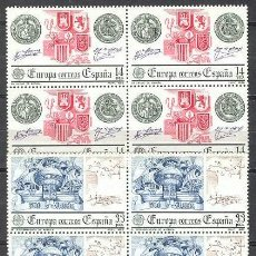 Sellos: ESPAÑA 1982 EUROPA ** SERIE COMPLETA BLOQUE 4 SELLOS SIN FIJASELLOS. Lote 89255879