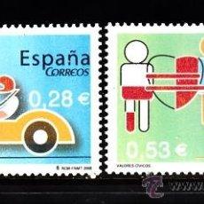 Sellos: ESPAÑA 4150/51** - AÑO 2005 - VALORES CÍVICOS - DONACIÓN DE SANGRE - SEGURIDAD VIAL. Lote 38748787