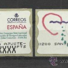 Francobolli: ATM CANARIAS 1ER CONGRESO RIESGOS LABORALES Y ETIQUETA DE AJUSTE. Lote 39111874