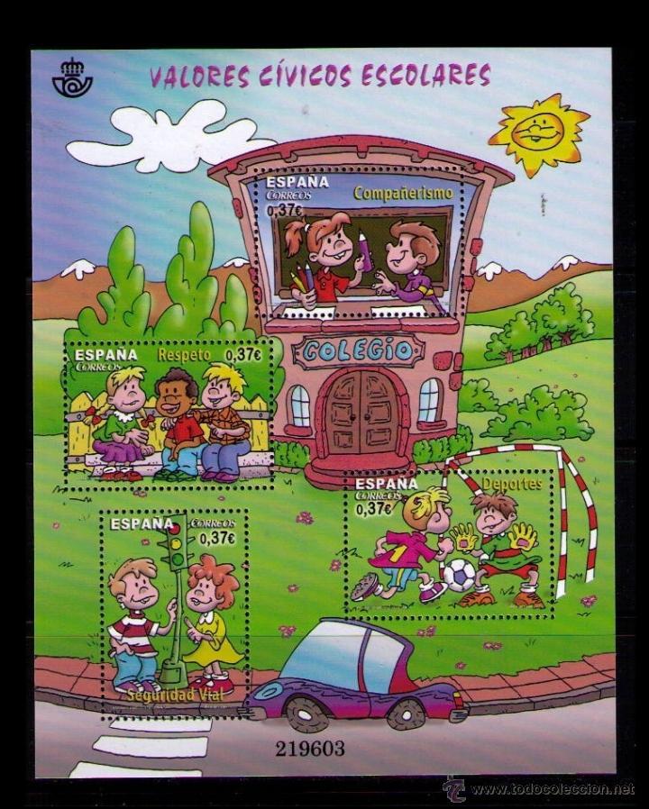 ESPAÑA 2013 - VALORES CIVICOS ESCOLARES - HOJA BLOQUE - EDIFIL Nº 4814 (Sellos - España - Juan Carlos I - Desde 2.000 - Nuevos)