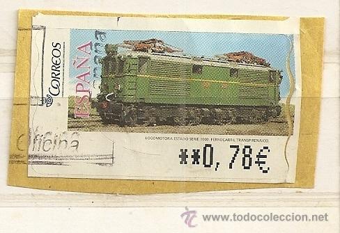 ATM TREN ANTIGUO. LOCOMOTORA ESTADO SERIE 1000 (Sellos - España - Juan Carlos I - Desde 2.000 - Usados)