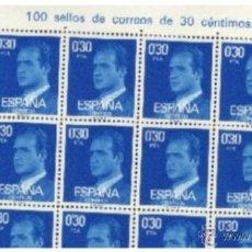 Sellos: PLIEGO DE 100 SELLOS JUAN CARLOS 0,30 CENTIMOS Nº 597. Lote 39917967