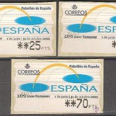 Sellos: ATM ESPAÑA PTAS 1 SERIE DE 4 DÍGITOS EXPO 2000 HANNOVERMOBBA - LIQ.COLECCIÓN-. Lote 40000274