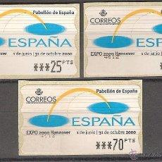 Sellos: ATM ESPAÑA PTAS 1 SERIE DE 5 DIG ESTRECHOS EXPO 2000 HANNOVER - LIQ.COLECCIÓN-. Lote 40000398